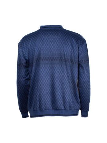 Koszulka Polo Bameha długi rękaw szachownica granatowa