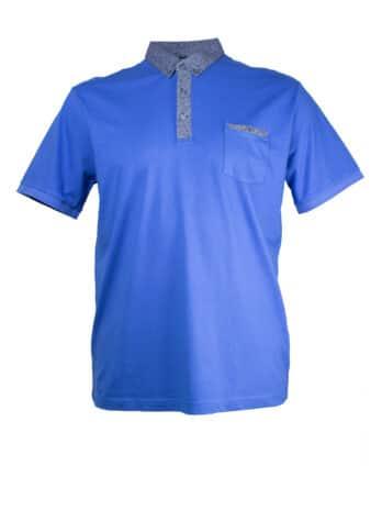 Koszulka Polo Tony Montana niebieska kołnierzyk w chmury